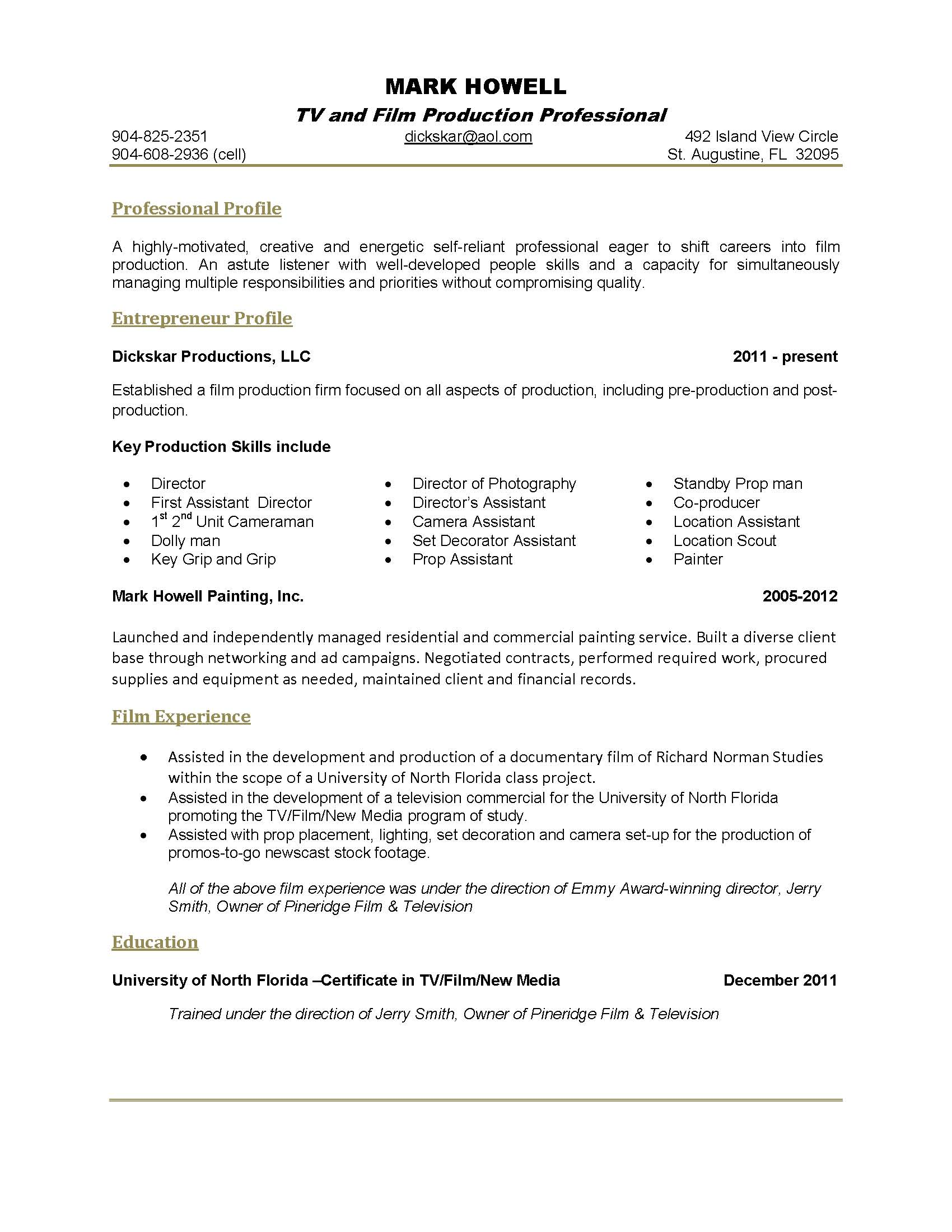 one page resume sample ~ Gopitch.co